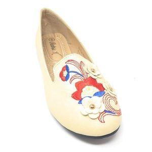 Women Embroidered Ballet Flats, B-2714A, Beige